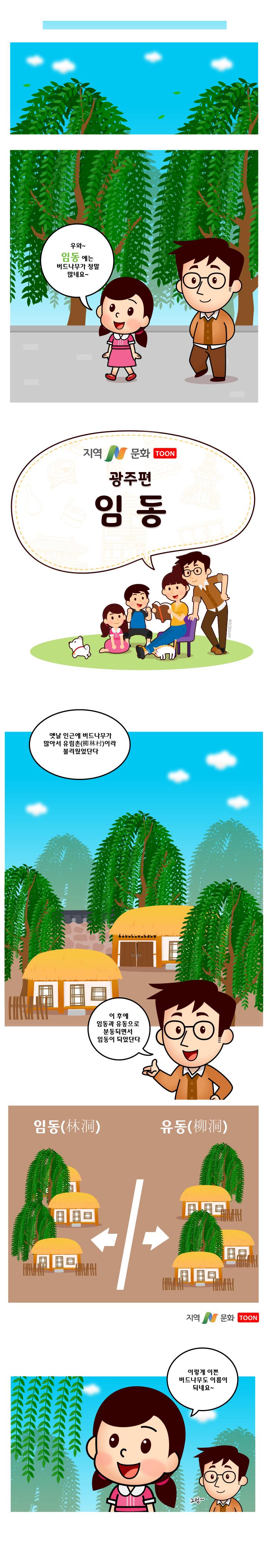 과거 광주광역시 북구 임동 지역에는 버드나무가 많아서 유림촌(柳林村)이라고 불렸다. 이 후에 임동과 유동(柳洞)으로 분동되면서 임동(林洞)이 되었다.