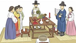 신랑과 신부가 처음 얼굴을 보고 절을 올리는 교배례